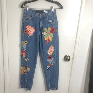 Zara Floral Embroidered Patches Jeans
